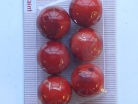 117206/0434- 6 x hoogglans kralen 18mm rood gemarmerd