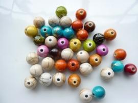 2161- 40 stuks kunststof kralen van 8mm antieklook mix met marmer effect