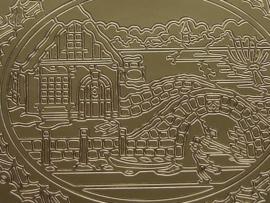 122- kerstafbeelding goud 10x20cm