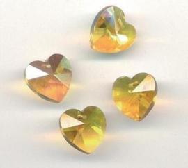 117471/0864- 4 x geslepen glashangers hart 14x13mm licht geel AB