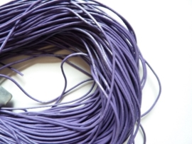 2 meter echt leren veter lila van 1.5mm dik - AA kwaliteit - SUPERLAGE PRIJS!