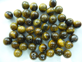 3734- ca. 50 stuks tijgeroog glaskralen van 8mm geelbruin