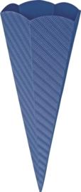 KN204869934- 5 stuks XL puntzakken van golfkarton met reliëf 41cm middenblauw