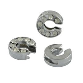 letter C - leerschuiver met strass steentjes zilver 13mm