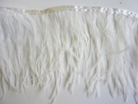 AM.65- 20cm struisvogel franje van 16-18cm lang wit