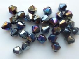 1250- 30 stuks electroplated glaskralen 6mm bicone zwart AB olie kleur - SUPERLAGE PRIJS!