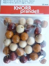 6013 010- 50 stuks 10 mm. houten kralen donker bruin/beige mix