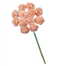 6547 200- 12 stuks roosjes van 10cm lang en 1.5cm breed zalm