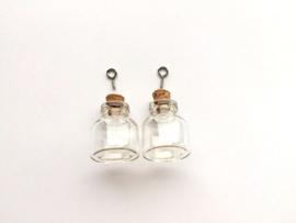 CE453101/2303- 2 stuks glazen flesjes hangers 22x25mm
