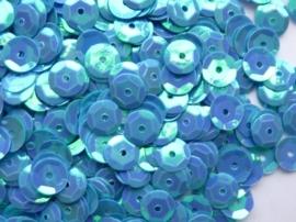 118372/504- 10 gram pailletten 6mm facon l.blauw AB (grote hoeveelheid) SUPERLAGE PRIJS!
