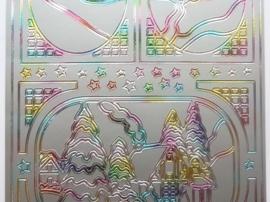 ST.1140- stickervel met diverse kerst afbeeldingen gekleurd 10x23cm