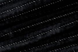8476 616- 10 stuks chenille draad van 50cm lang en 8mm breed zwart