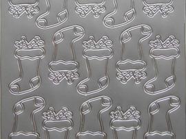 172- kerst sok zilver 10x20cm