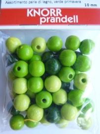 6030 420- 50 stuks 10 mm. houten kralen groen/licht groen mix