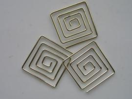 metalen tussenstuk clip vierkant 25x25 mm. goud