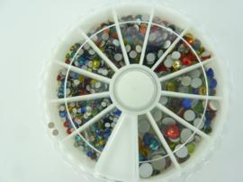 00444- assortimentsdoosje met strass steentjes van 2 - 5mm kleurenmix