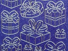 st1046- glitterstickervel paars/zilver met cadeautjes 10x20cm