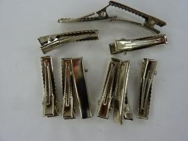 CH.R001-10- haarclip / haarklem om zelf te versieren 32x6mm staalkleur 10 stuks - SUPERLAGE PRIJS!