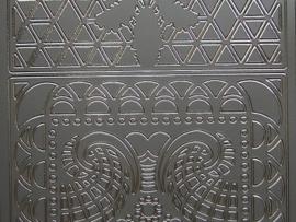 st718- sticker met grote ornamenten zilver 10x20cm