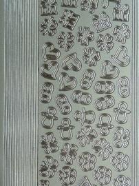 st973- stickervel met rechte randjes met mini figuurtjes 10x23cm zilver