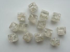 4073- 14 x qraccle glaskralen vierkant 8x7mm transparant/wit