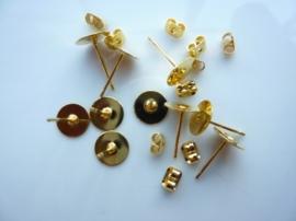 CH.2900.10- 10 stuks platte oorstekers met schuifjes 8mm goudkleur - SUPERLAGE PRIJS!
