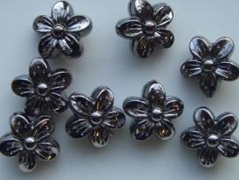 117465/3613- licht metalen kraal 15x9mm bloem antraciet