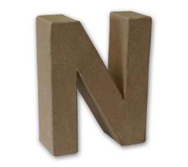 1929 3114- stevige decoratie letter van papier mache - 3D letter N