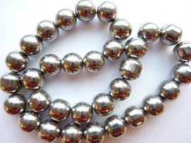 715- 35 stuks glaskralen rond 10mm electroplated donker zilver - SUPERLAGE PRIJS!