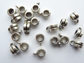CH636.20- 20 stuks zwaar metalen aanhangkralen 6x4mm staalkleur - SUPERLAGE PRIJS!