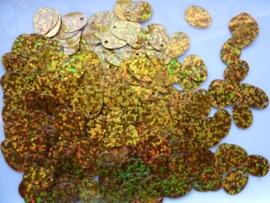 10gram (grote hoeveelheid) ovale pailletten van 13x9mm glitter goud