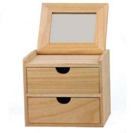CE811760/1614- houten kastje met spiegeltje 16x13.5x14cm