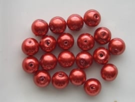 2230- 20 x glasparels 8mm rood