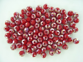 1417- ca. 100 stuks geslepen electroplated glaskralen van 6x4mm rood AB