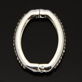 CH.M.004-  pareltwister / parelclip metalen slot voor meerdere strengen zilver strass 26x20mm (klikring)
