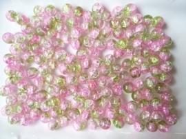 G.4086- ca. 150 stuks qraccle glaskralen van 10mm roze/groen - SUPERLAGE PRIJS!