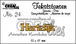 CE115634/3124- Crealies tekststans NO.24 hartelijk 10x41mm