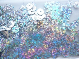 118372/460- 10gram gladde pailletten van 8mm in glitter zilver (grote hoeveelheid!)