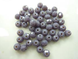 1351- 50 stuks facet geslepen glaskralen 5x4mm AA-kwaliteit donker lila