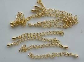 5 x verlengkettinkjes goudkleur ca. 5cm met kegeltje - 1512