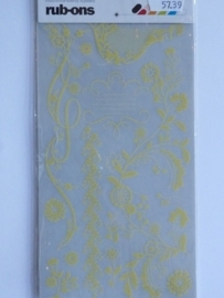 5739- basic grey rub-on stickers bloemen/ornamenten beige 20x11cm OPRUIMING