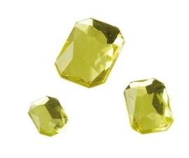 2282 410- 80 x kunststof strass stenen assortiment rechthoeken van 8/10/13mm geel