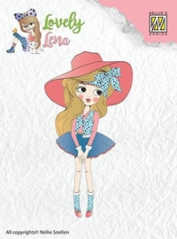 CE130511/0401- Nellie's Choice clearstamp Lena met hoed