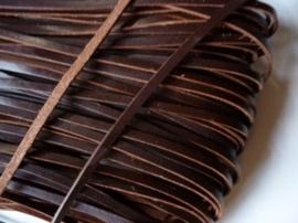 5 meter echt leren platte veter d.bruin van 5mm breed - AA kwaliteit - SUPERLAGE PRIJS!