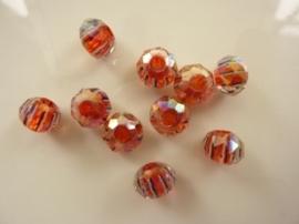 1950- 10 stuks electroplated geslepen glaskralen 10x7mm rood/wit/blauw - SUPERLAGE PRIJS!