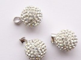 3996- Swarovski elements strassbal hanger crystal zilver 12mm AA+ kwaliteit - SUPERLAGE PRIJS!
