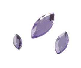 2282 557- 120 x kunststof strass stenen assortiment spitsovaal 10/15/20mm lang lila