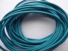 5 meter echt leren veter aqua blauw van 2mm dik - AA kwaliteit - SUPERLAGE PRIJS!