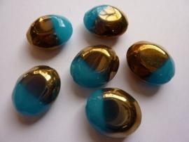 3255- 6 stuks electroplated glaskralen 24x20x6.5mm blauw/goud - SUPERLAGE PRIJS!