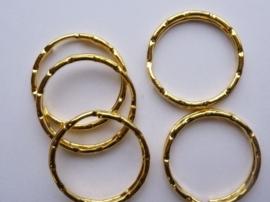 CH.244G.5- 5 stuks luxe sleutelringen met ribbels van 25mm goudkleur - SUPERLAGE PRIJS!